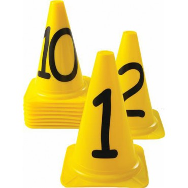 Afbakenkegelset Genummerd 1 t/m 10 - Geel