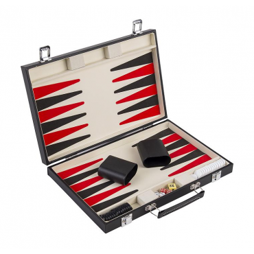 Backgammon 15'' Zwart PU Leder