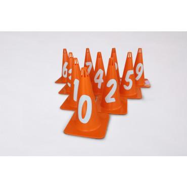 Afbakenkegel Set MK26 Genummerd 0 t/m 9 - Oranje